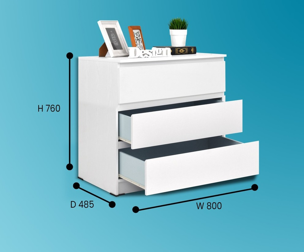 MALM 3 DRAWERS SNOOZE WHITE