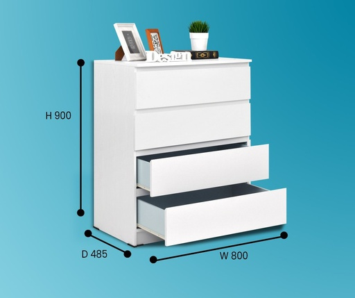 MALM 4 DRAWERS SNOOZE WHITE