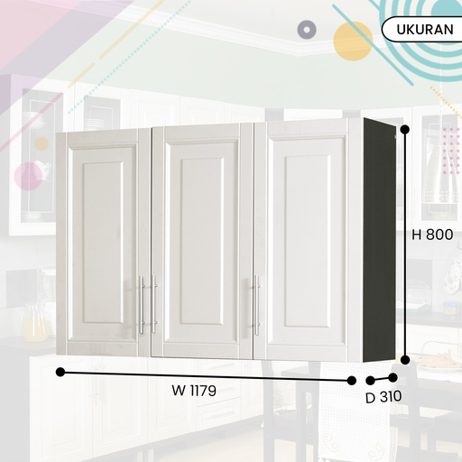 KITCHEN SET ATAS 3P 0108 DARK OAK