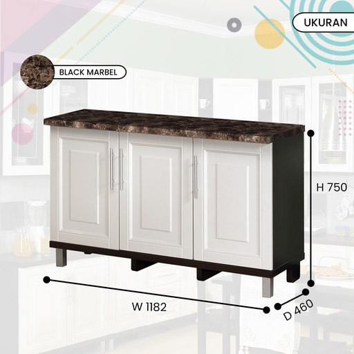 KITCHEN SET BAWAH 3P 0108 B DARK OAK